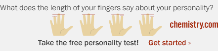 Chemisty.com: What does the length of your fingers say about your personality? Take the free personality test!